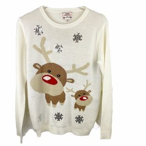 Vintage Christmas Sweater Snowflake Reindeer Daisy
